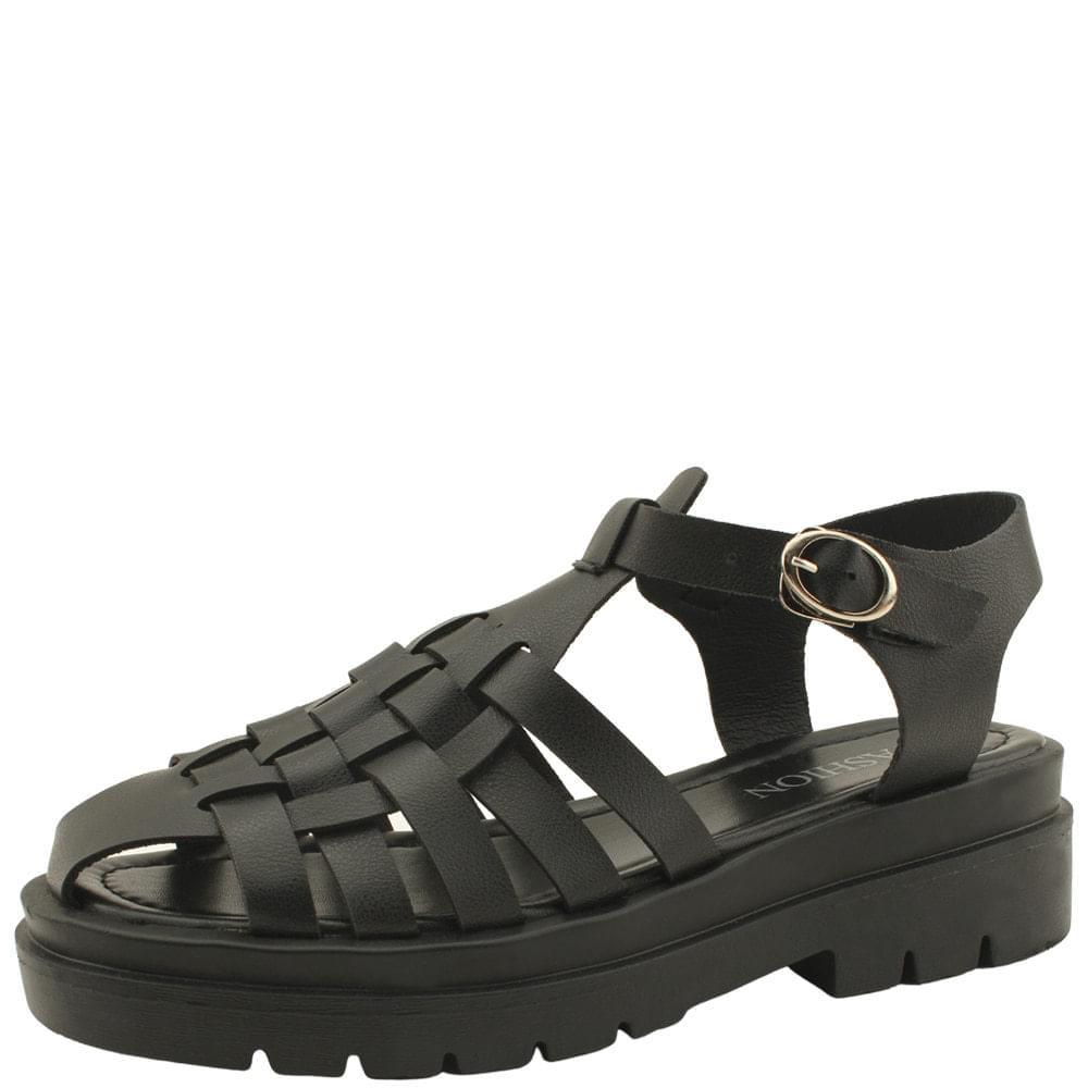 Gladiator Weave Flat Sandals Black