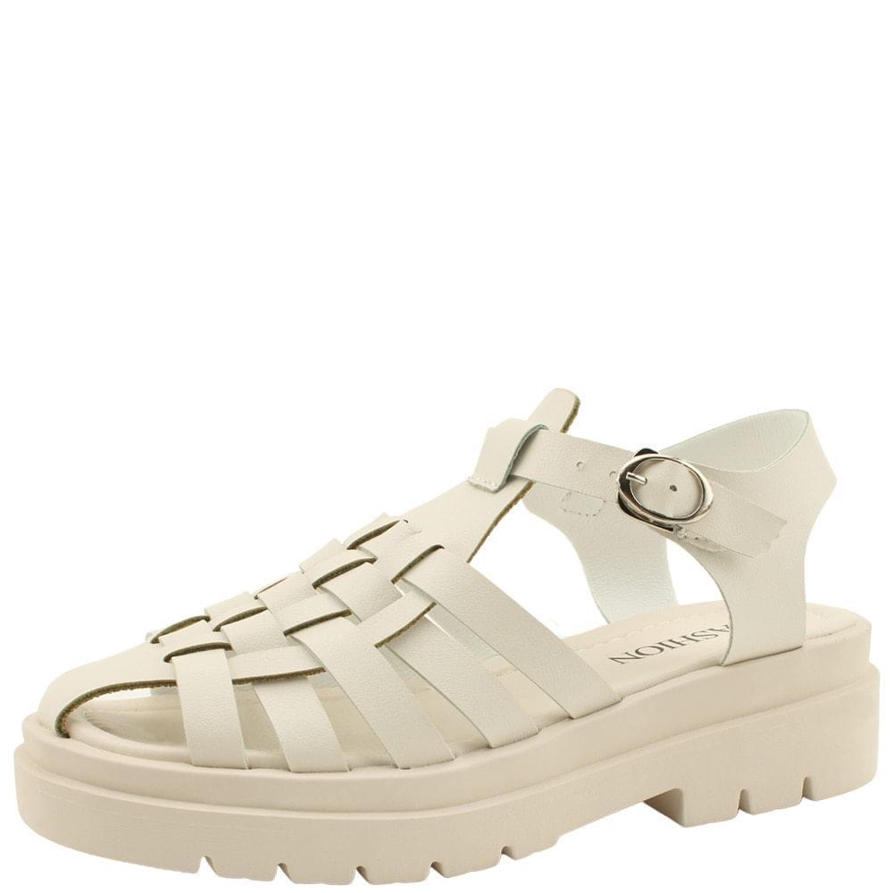 Gladiator Weave Flat Sandals Beige