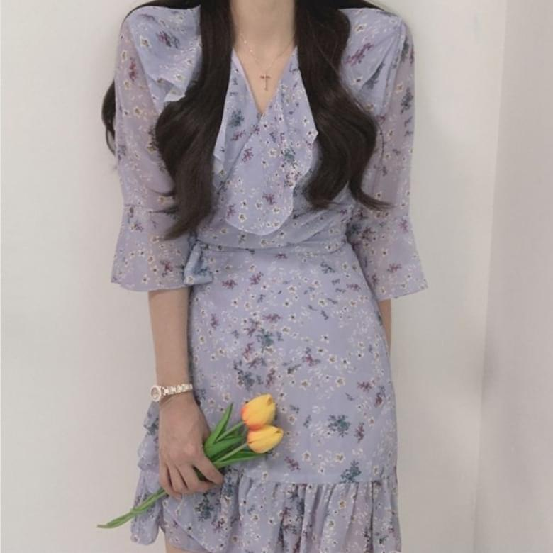 韓國空運 - Lovely Chiffon Frill Wrap Dress 及膝洋裝