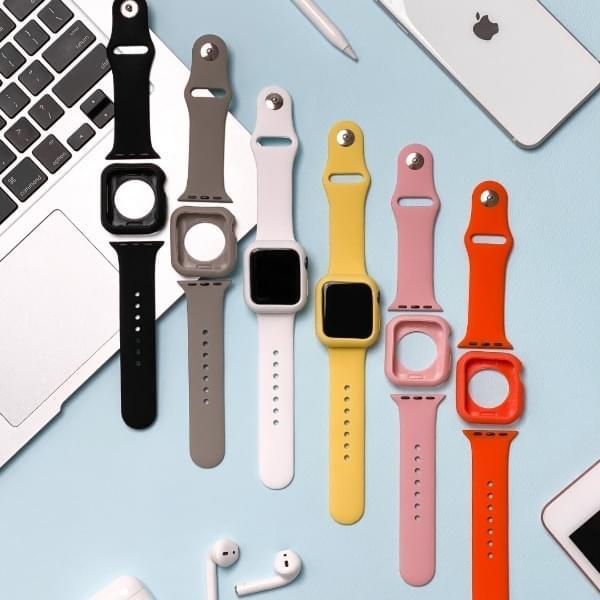 Apple Watch Vivid Silicone Strap Case Set 6color