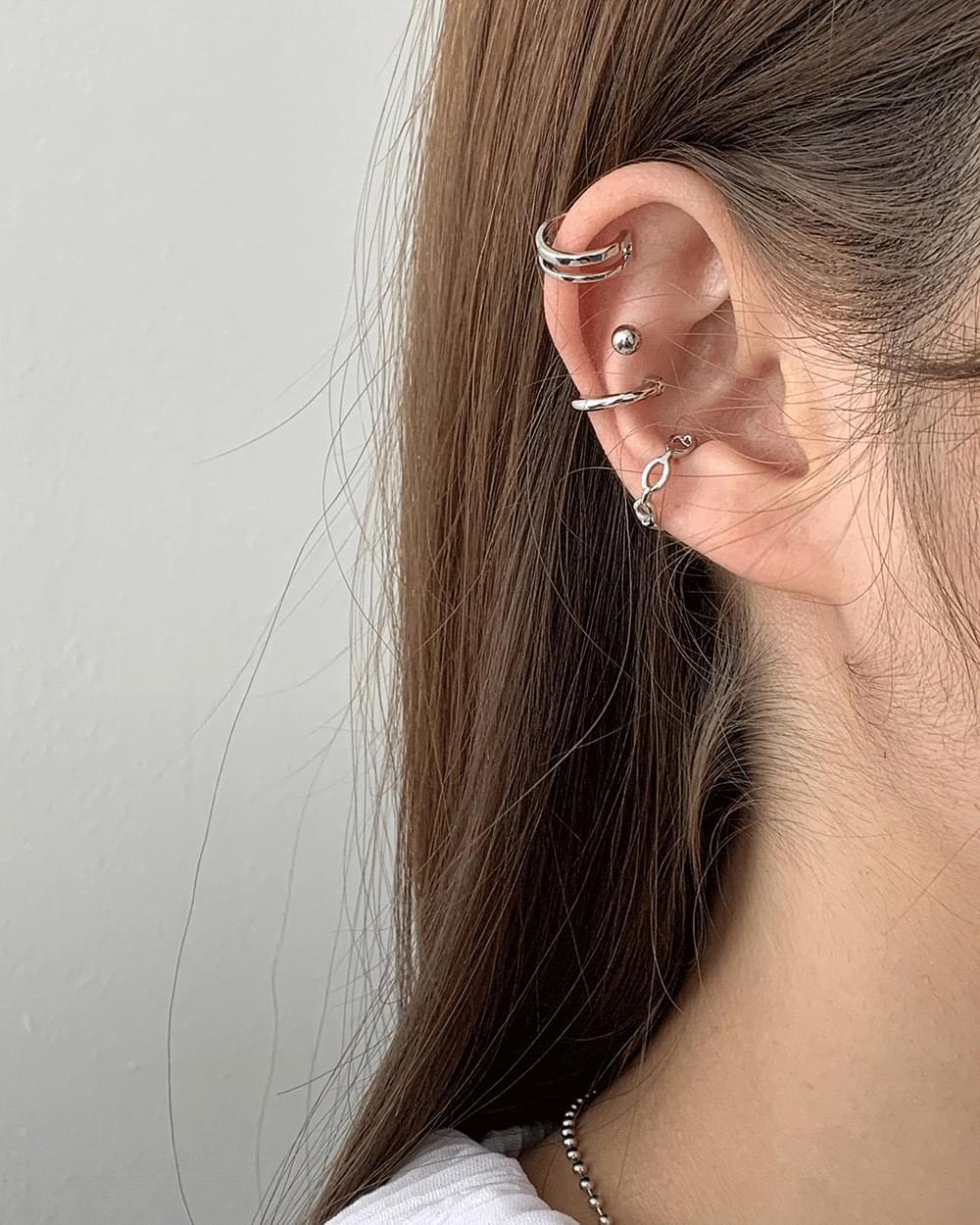 Elma Mood Silver Ear Cuff Set