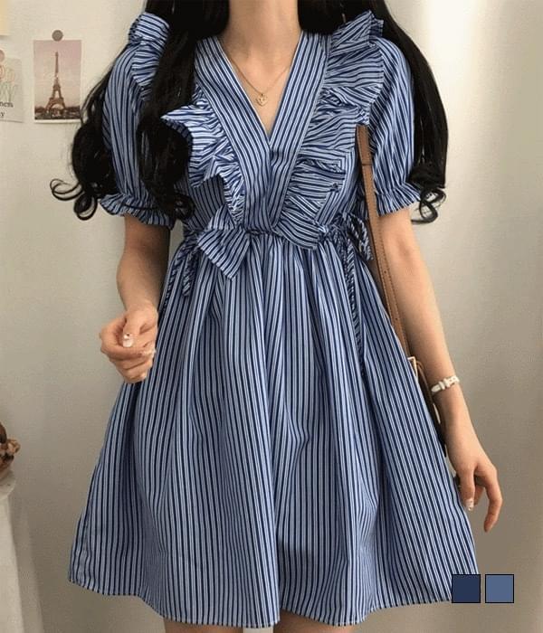 Fury lace side ribbon stripe Dress 迷你短洋裝