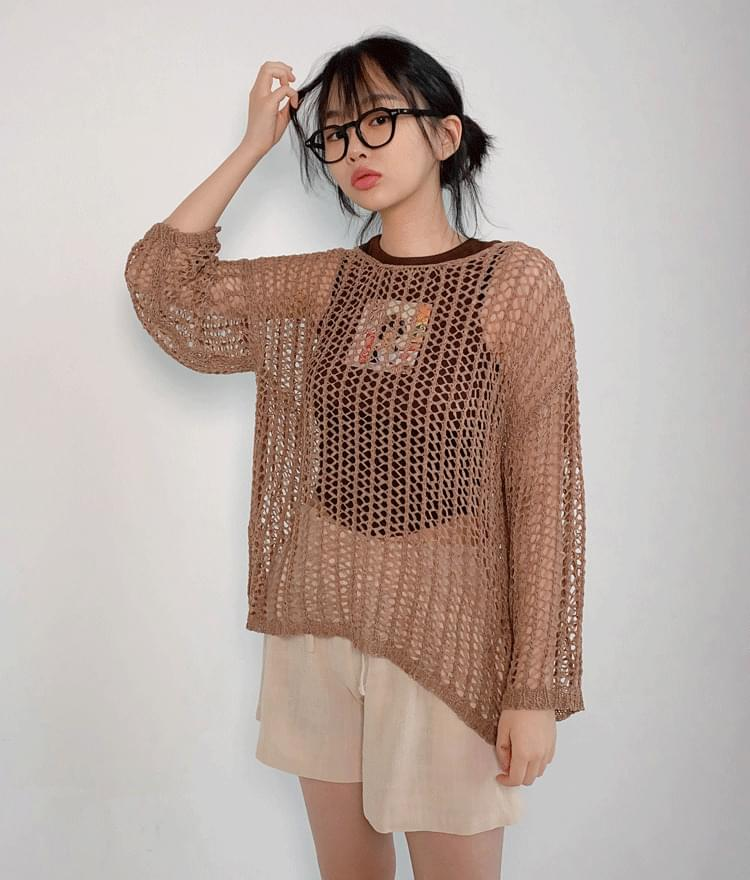See-Through Net Knit Top