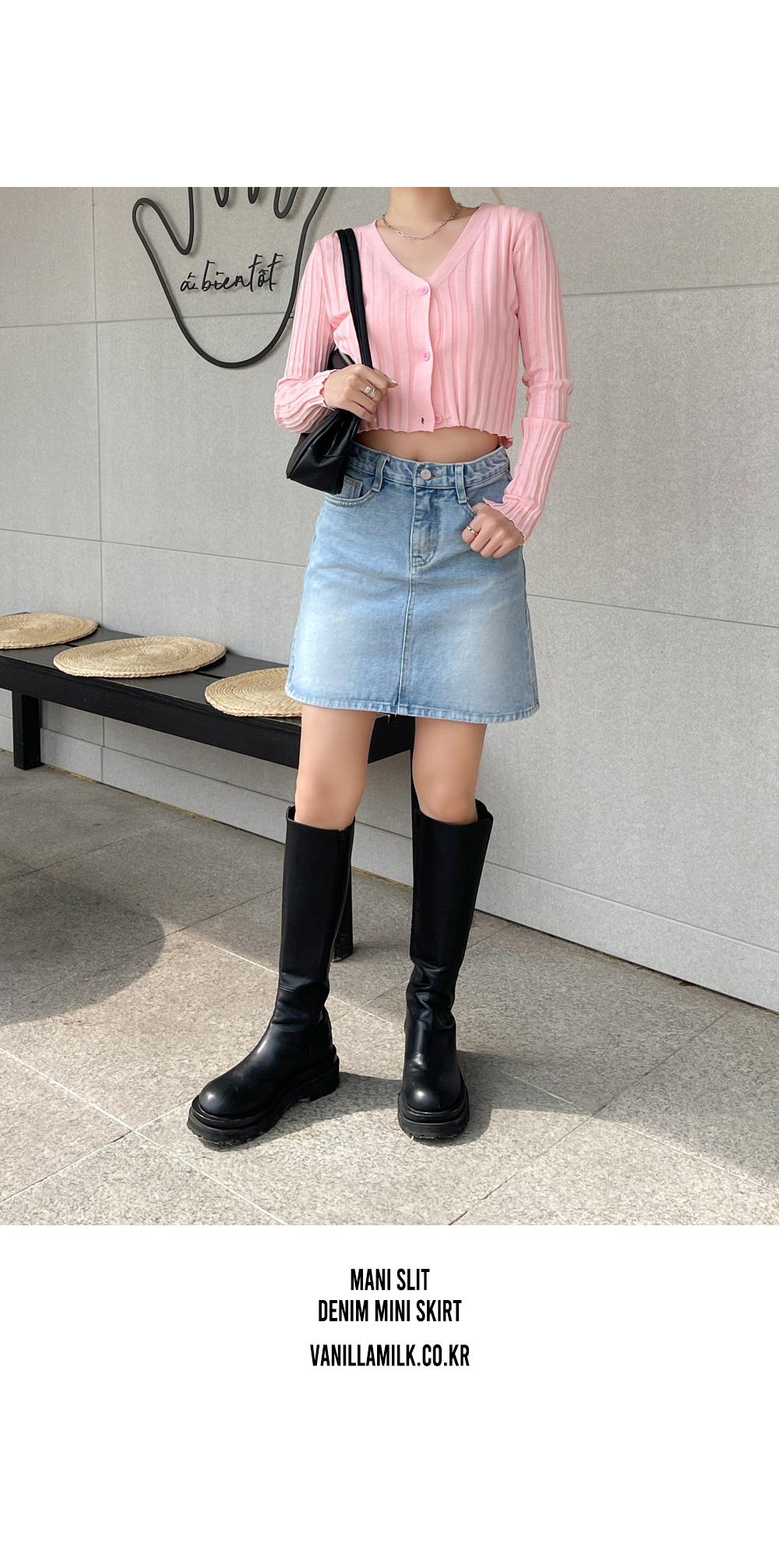 Men's split denim mini skirt