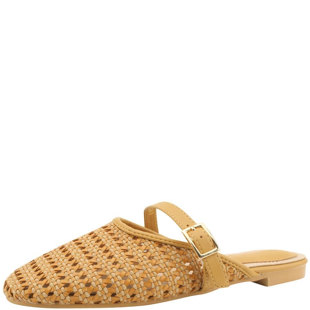 韓國空運 - Mesh Rattan Strap Flat Sandals Jean Beige 涼鞋