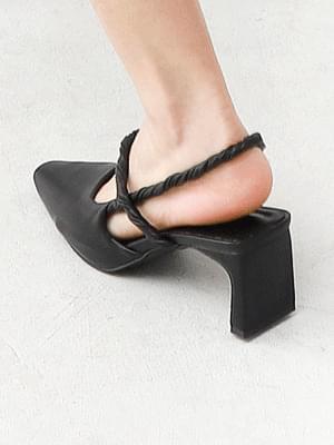 Isshu twist strap straight heel middle heel slingback sandal 5347