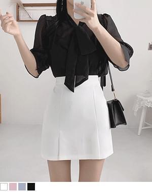 韓國空運 - Reversible sheer ribbon blouse 襯衫