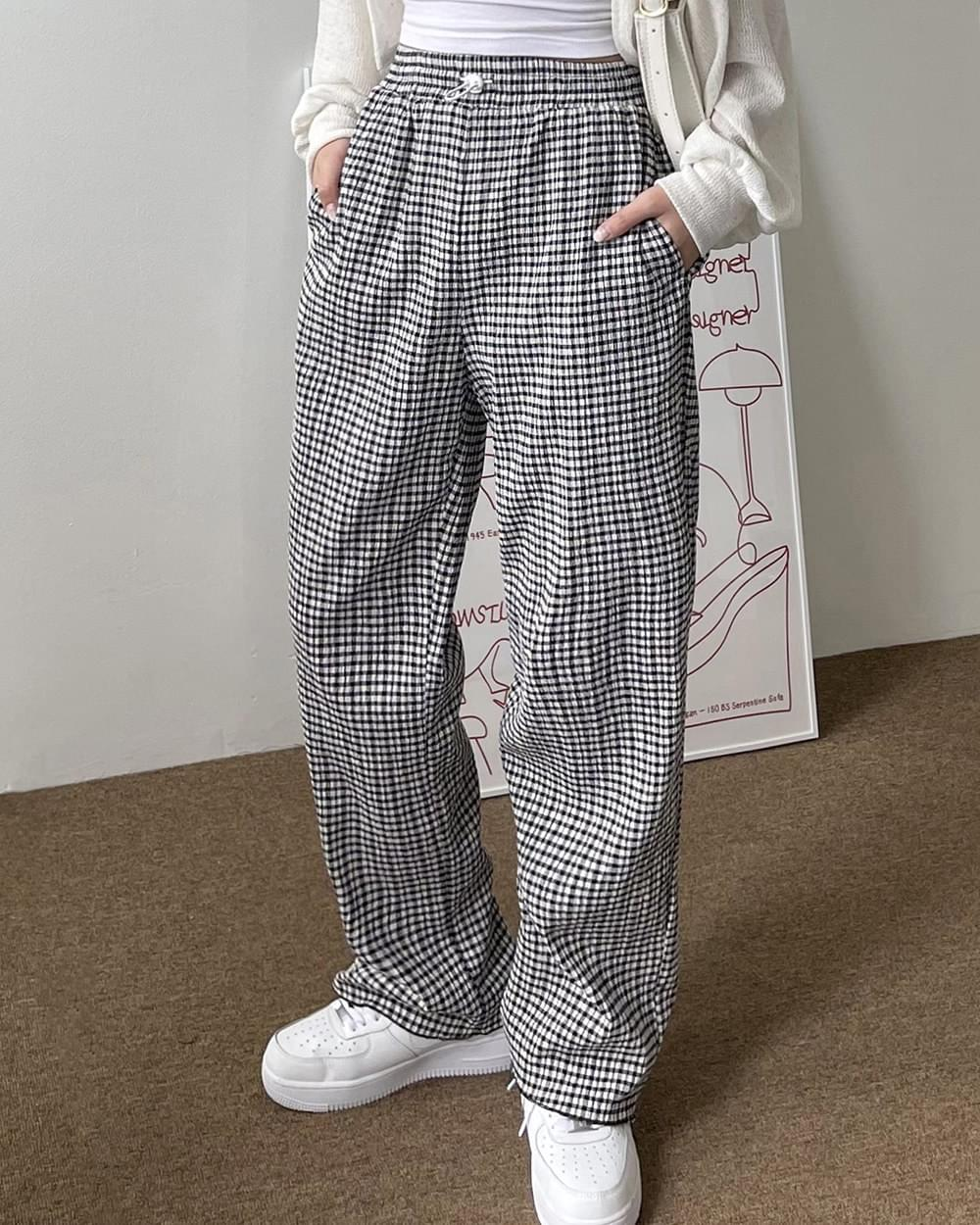 House string check wide trousers