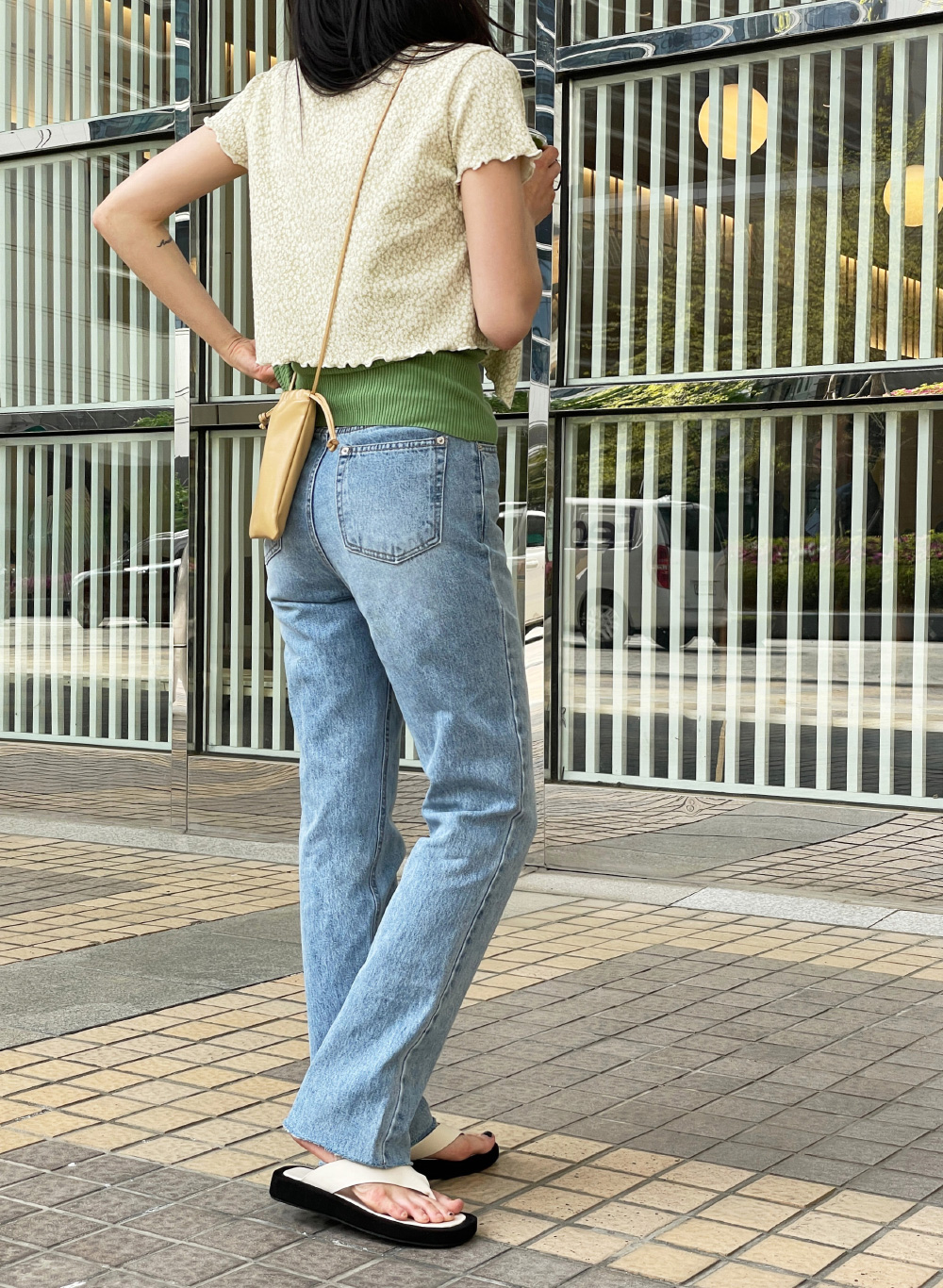 Slow Hem Cut Denim Pants