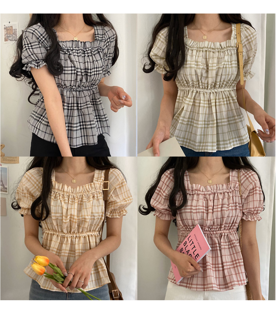 Go check flared blouse