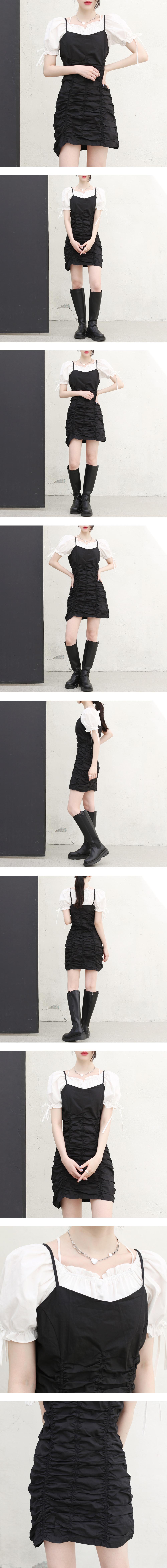 Moz Shirring Layered Dress
