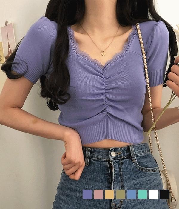 Hanabi Lace Shirred Puff Knitwear