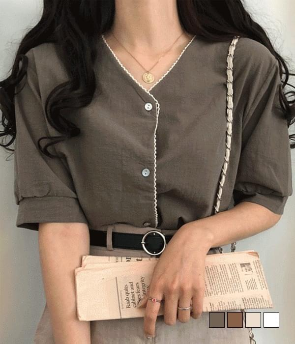 Iromi lace short-sleeved blouse 襯衫