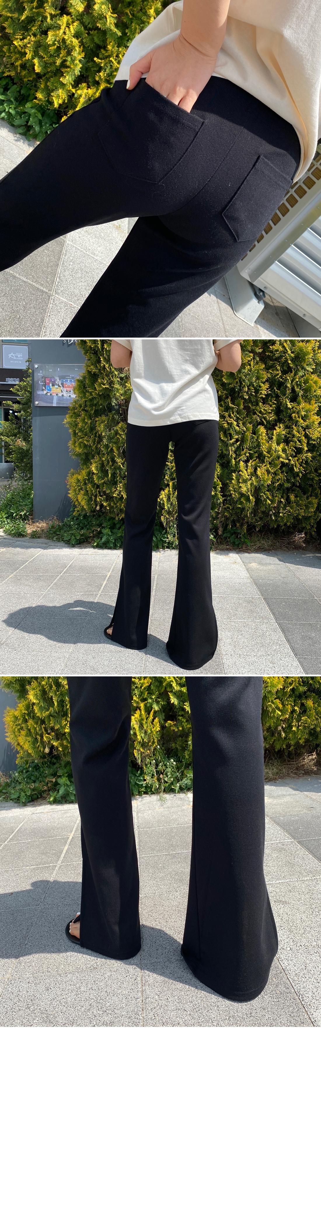 Loose back pocket side split banding pants