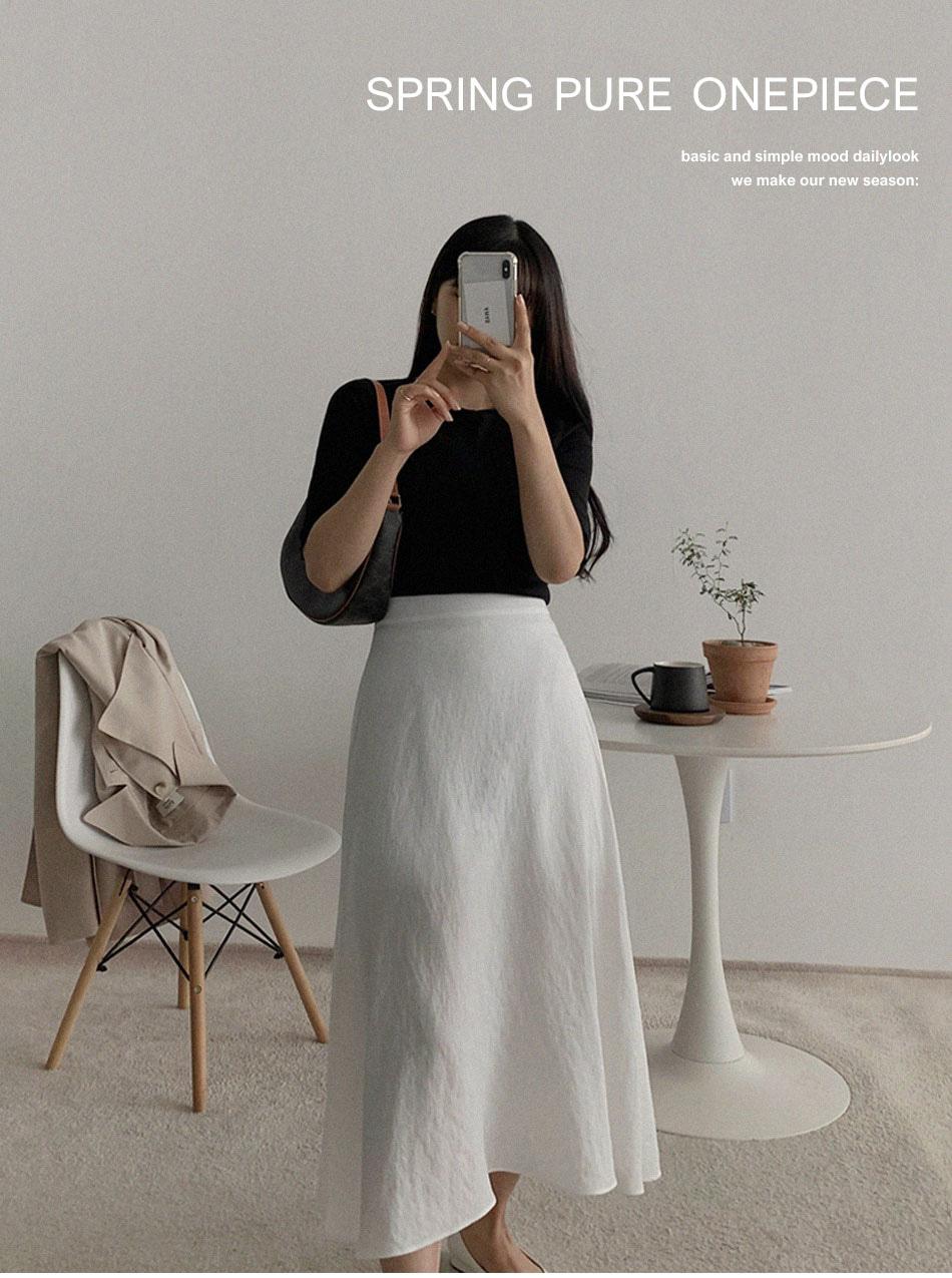 Lin flare long skirt