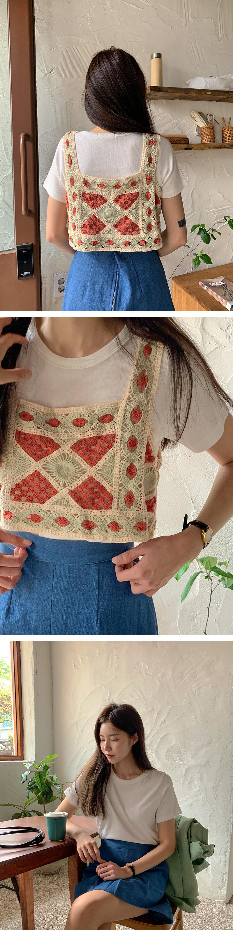 Multi-Color Crochet Bustier