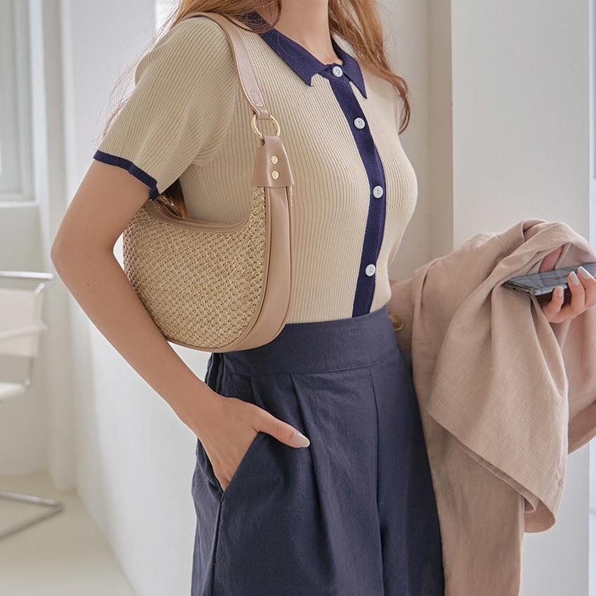 Aigle Collar Knitwear Cropped Cardigan
