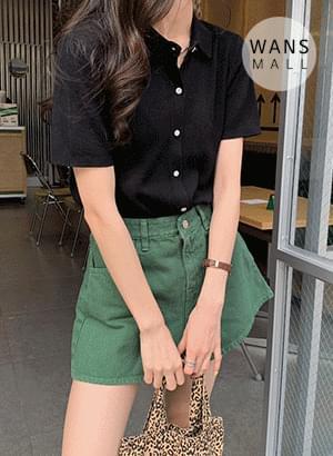 kn4461 Ab Collar Short Sleeve Knitwear