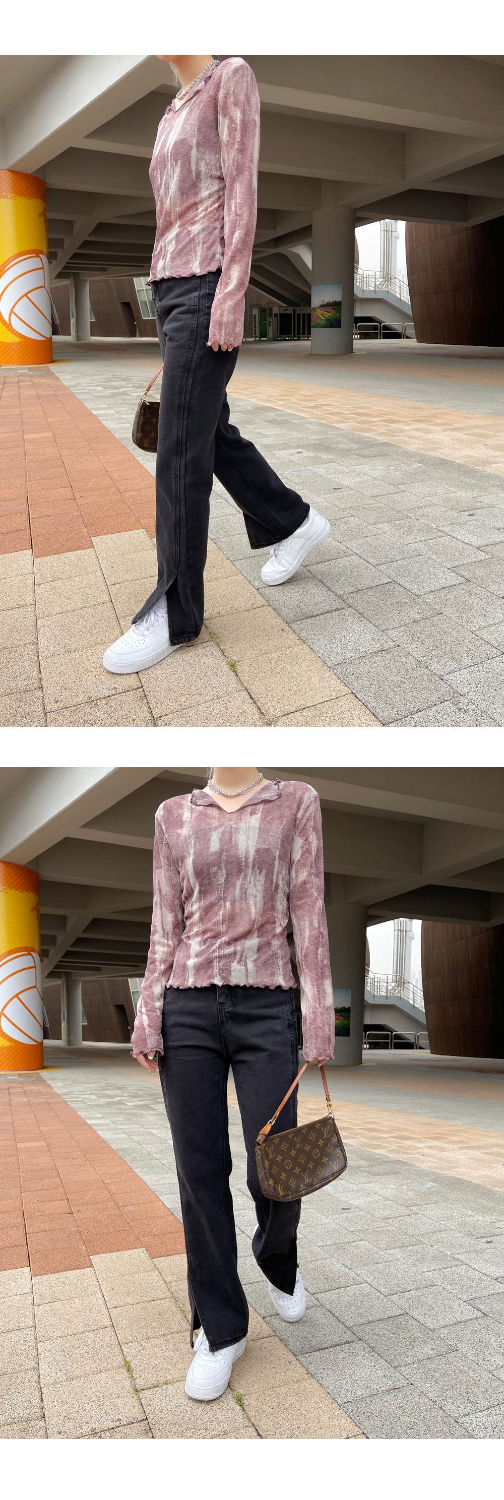 Jaber split straight-leg denim trousers