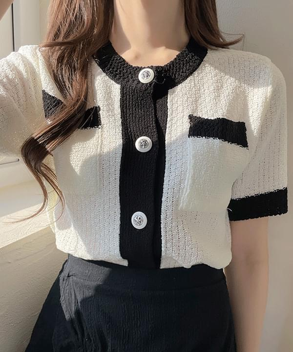 Flan Color Button Knitwear Cardigan 2color