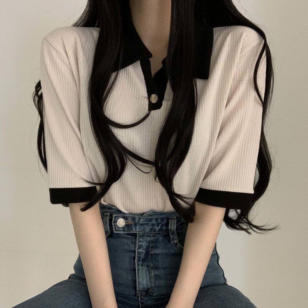 Color button collar short sleeve T