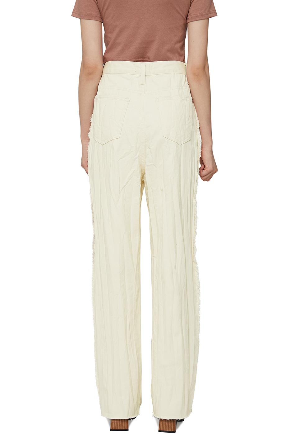 Fringed wrinkled straight jeans