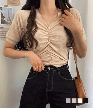 Laurent Shirring Knitwear T-shirt
