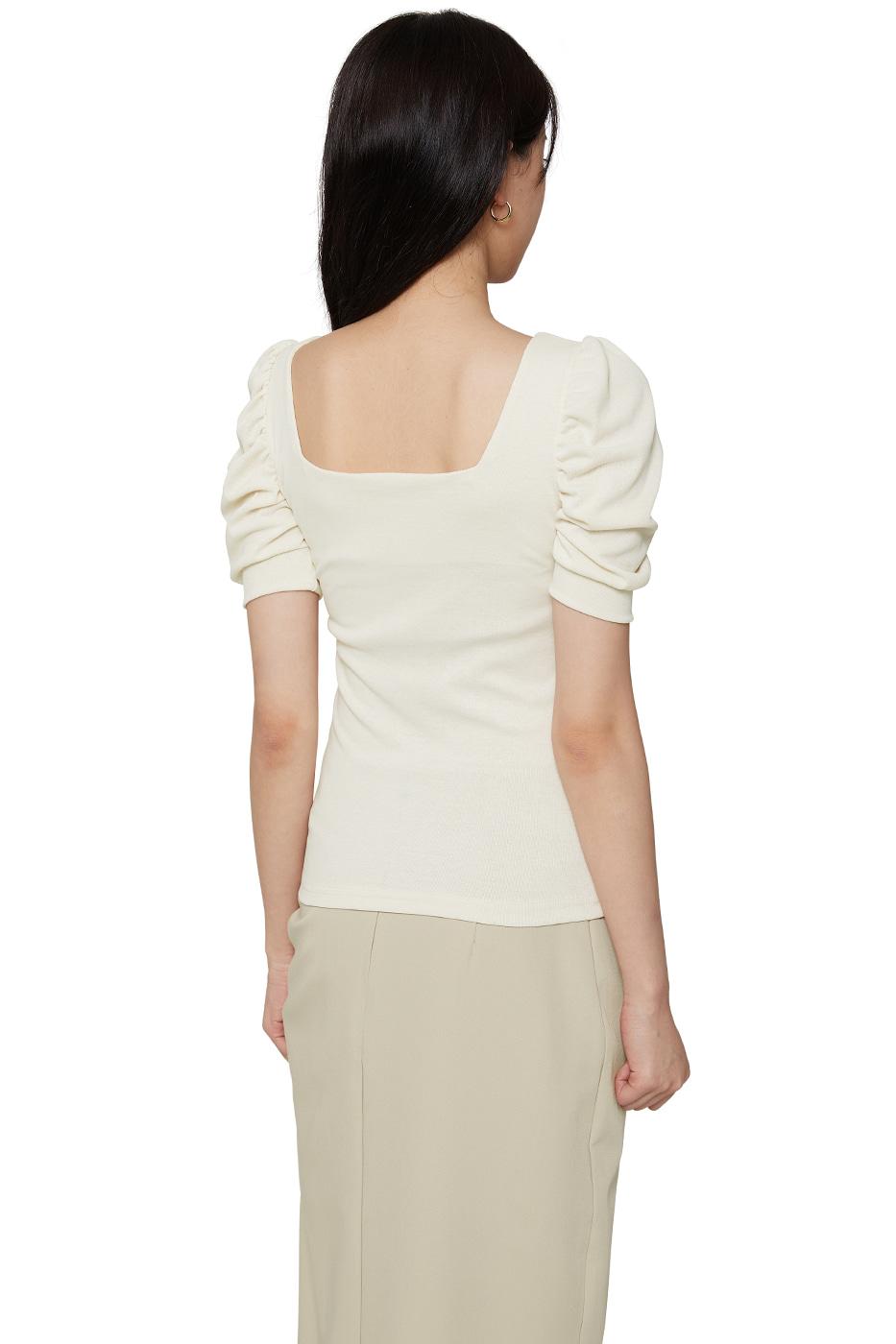 Melting shirred square-neck top