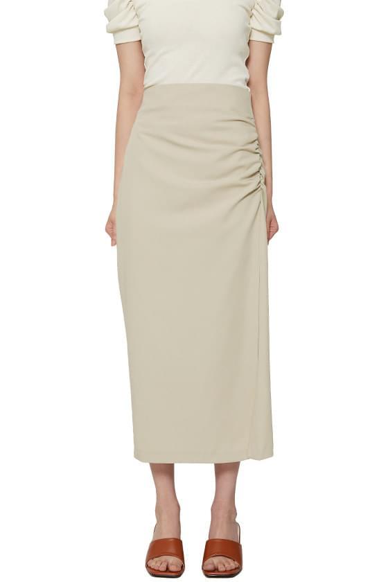 Rusty Shirred Slit Long Skirt