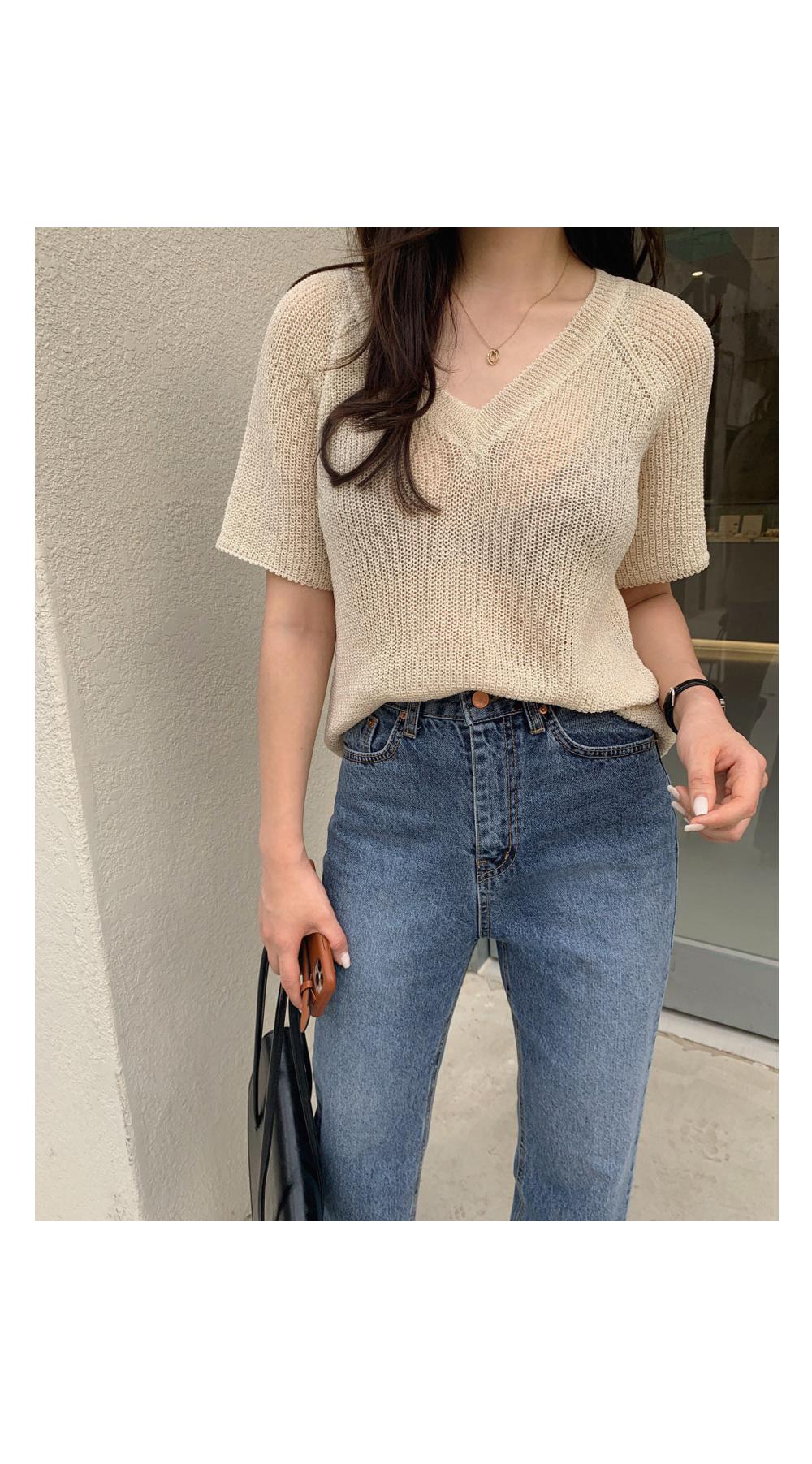 V short sleeve knit