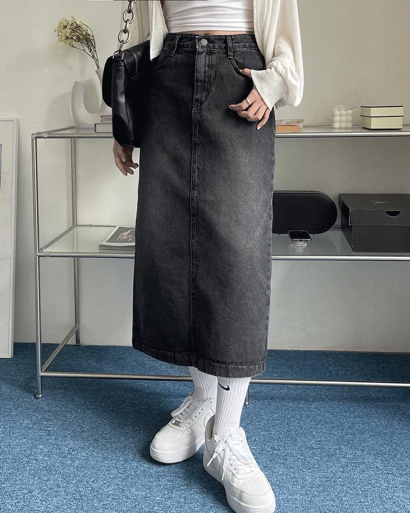 Boa daily Faded long denim skirt