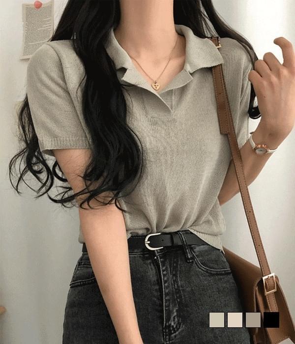 Snack Linen Collar Short Sleeve Knitwear