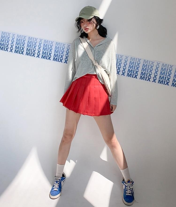 Simple Linen Hooded T-shirt Tennis Skirt Pants