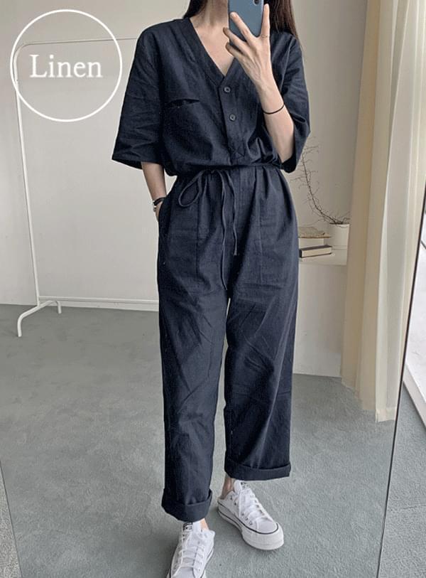 Linen jumpsuit pants
