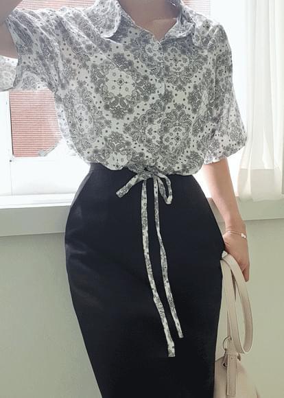 韓國空運 - Paisley string cropped shirt 襯衫