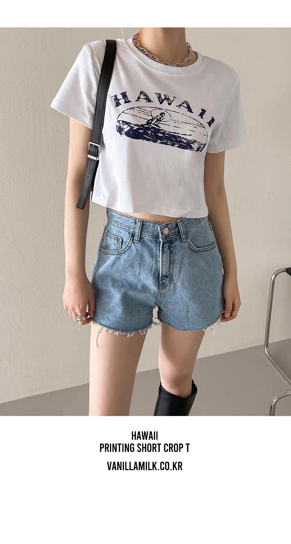 Hawaiian printed short-sleeved cropped T-shirt