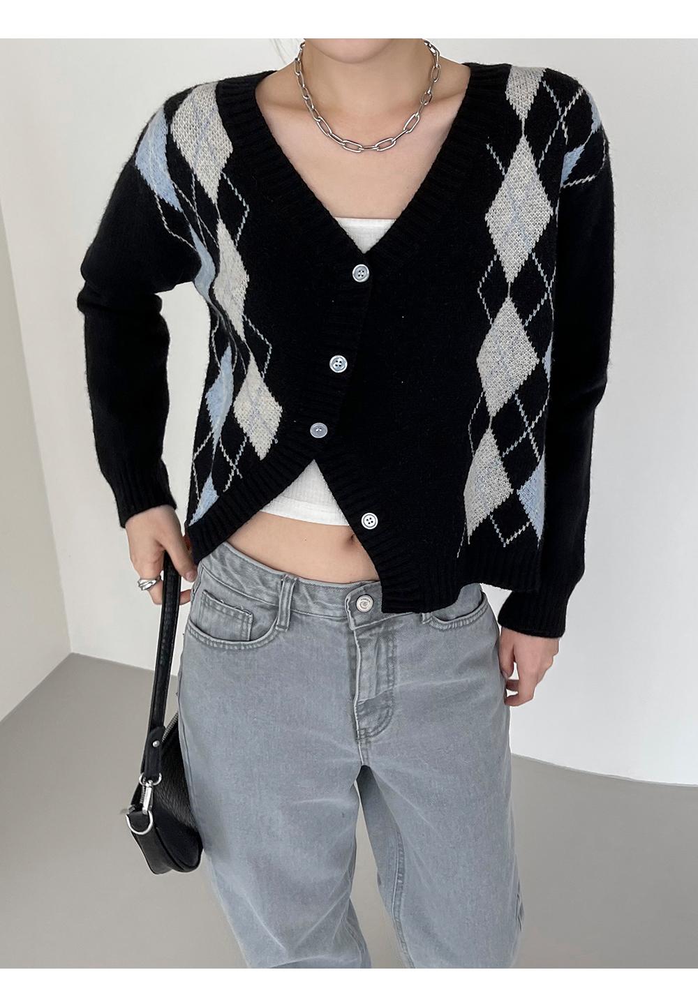 Clento V-Neck Argyle diagonal cardigan