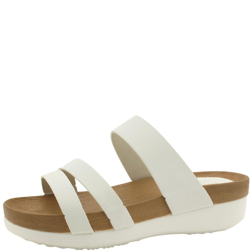 韓國空運 - Three-wire Strap Heel Slippers 5cm White 涼鞋