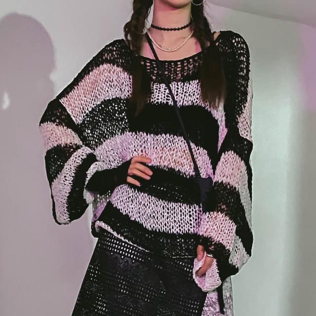 Striped Nehrunet Knitwear
