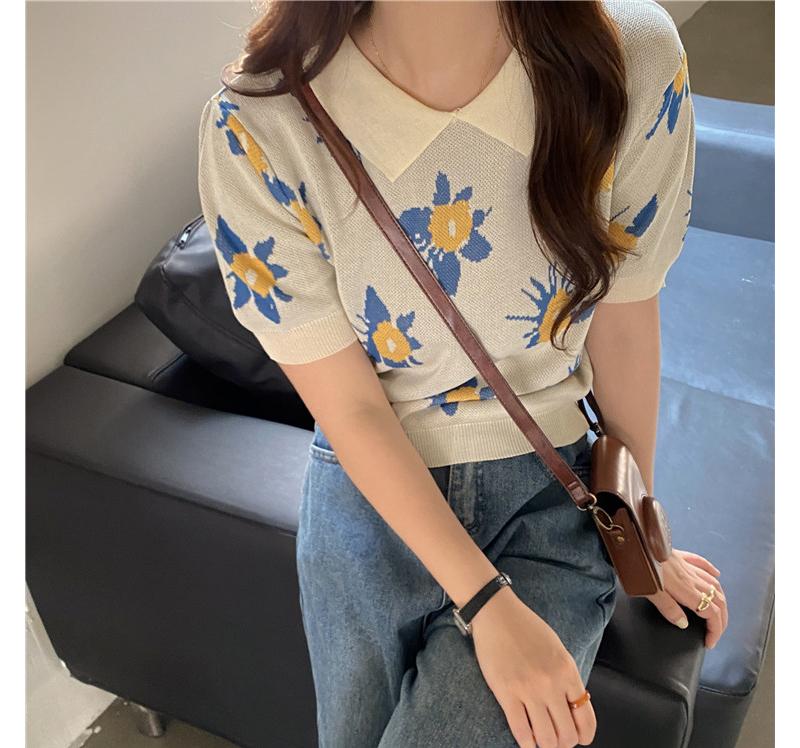 kn4413 Fuzz Flower Collar Knitwear