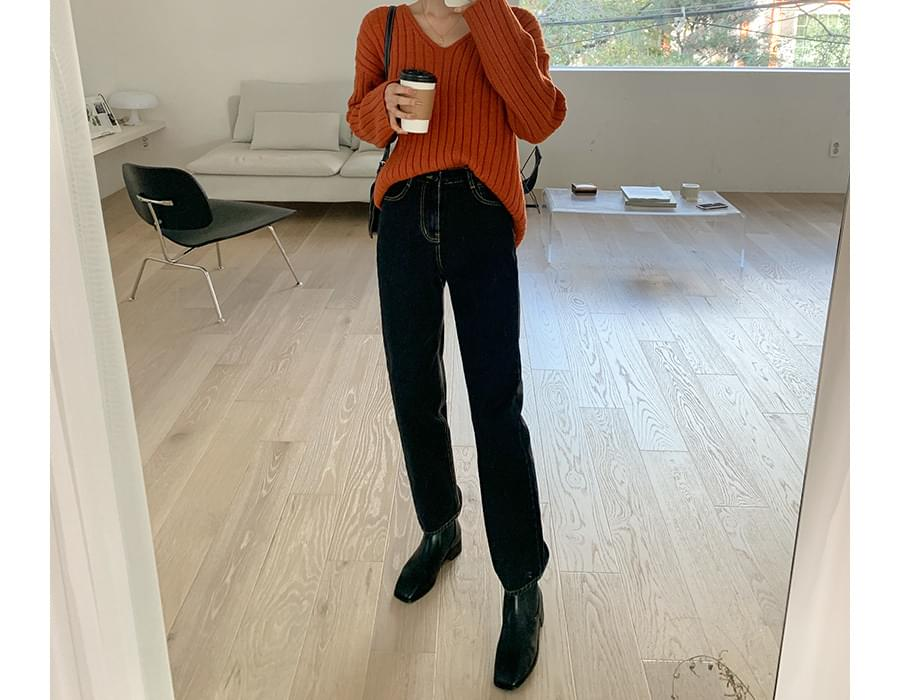 Salt date Fleece-lined denim pants 牛仔褲