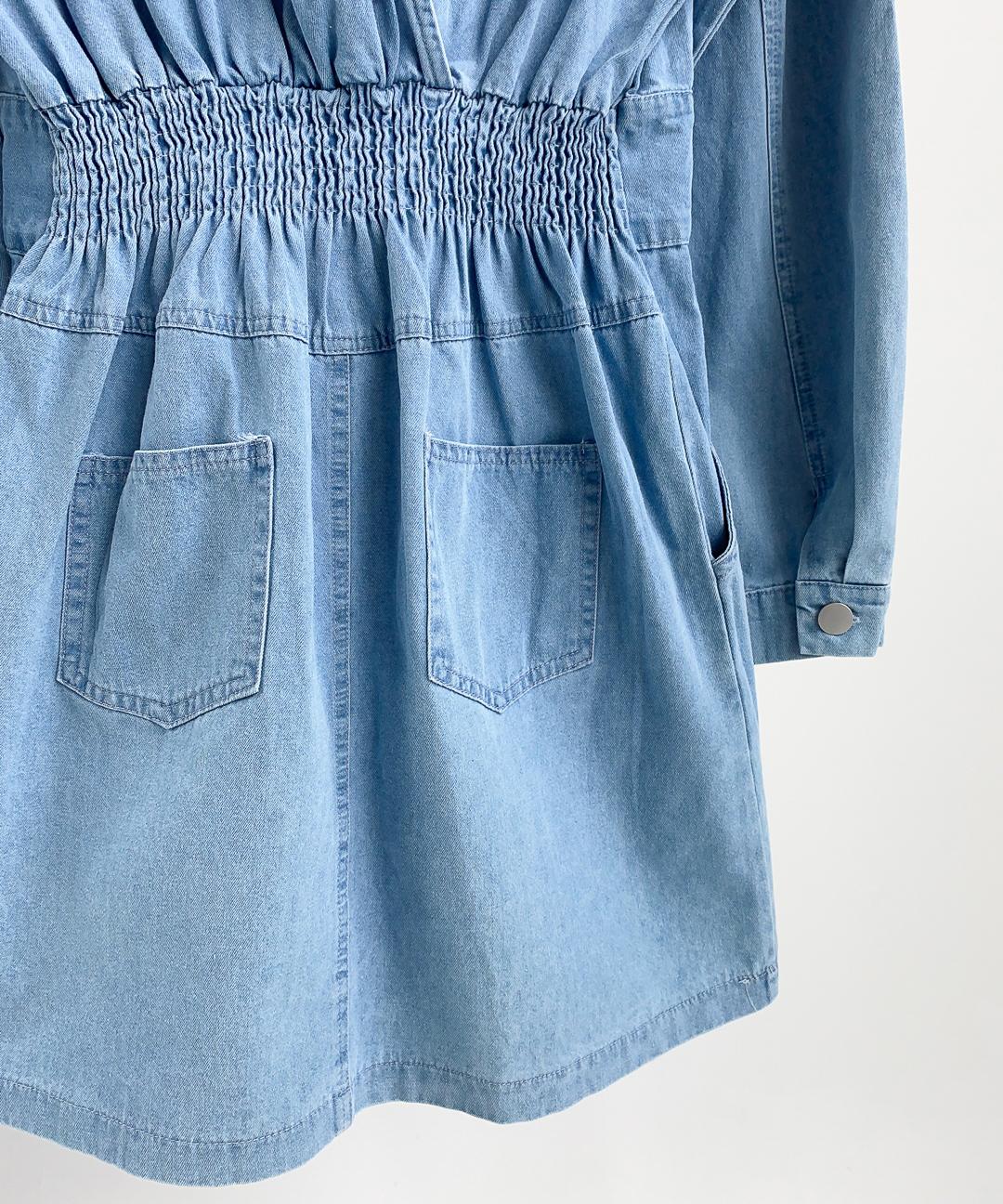 Semi-Elastic Waist Denim Dress