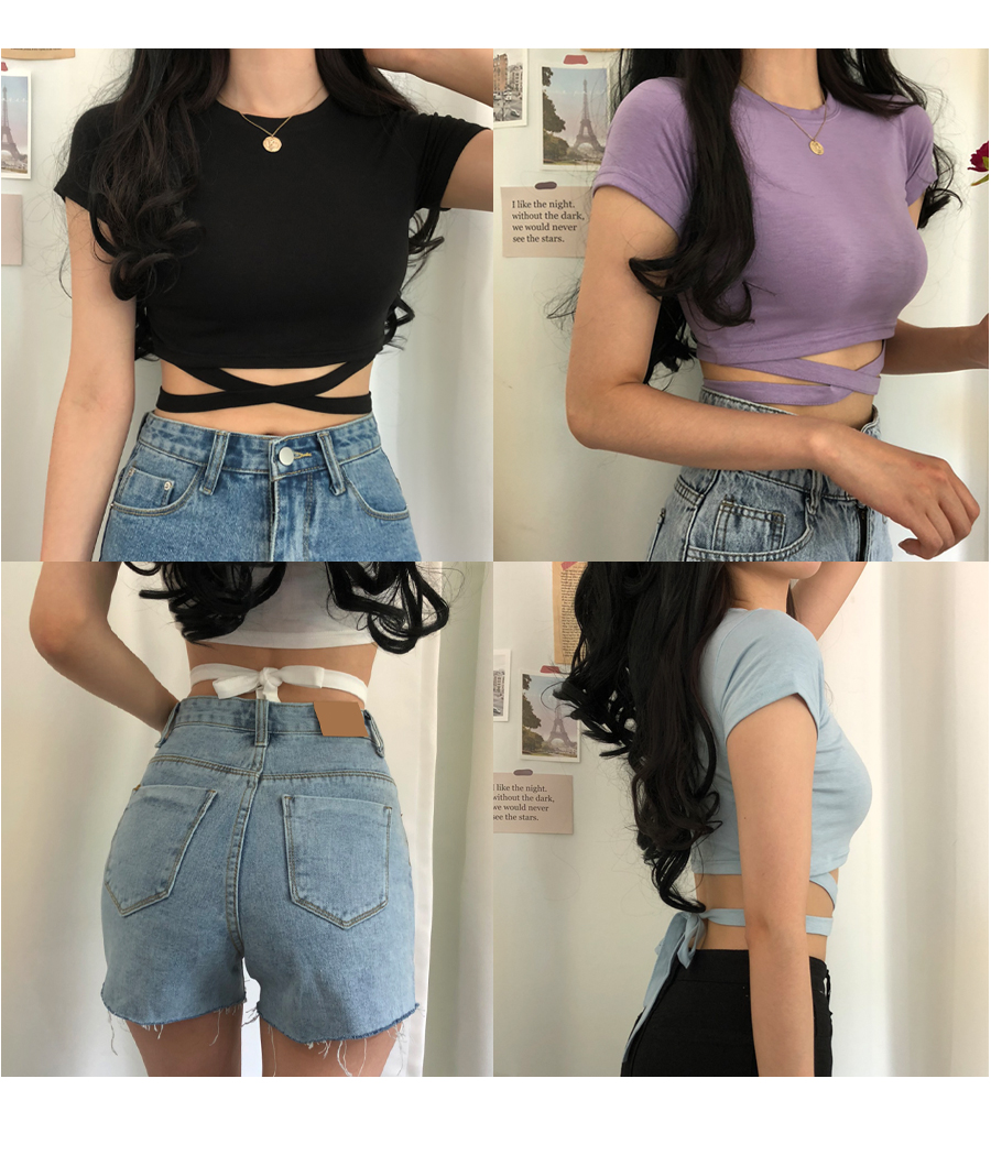 X-string tie cropped T-shirt
