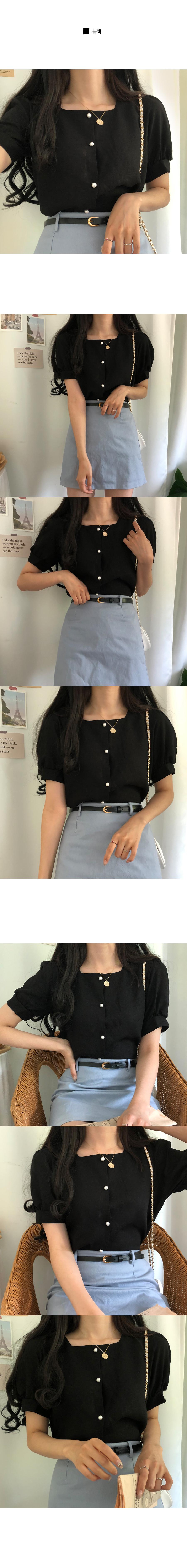 Days square-neck linen short-sleeved blouse