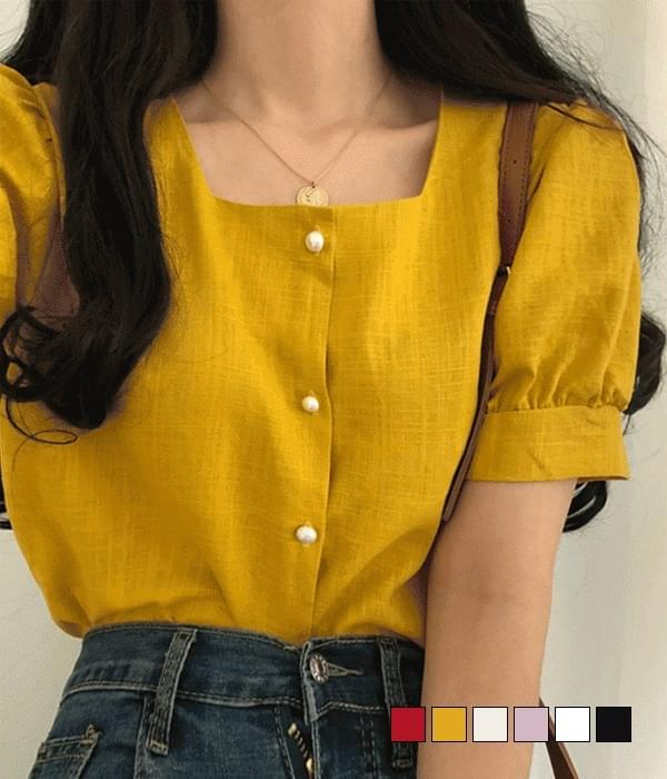 Days square-neck linen short-sleeved blouse (Delayed delivery)