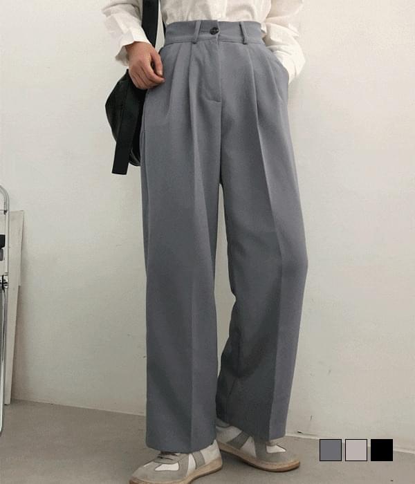 Diago rear banding pintuck wide slacks 長褲