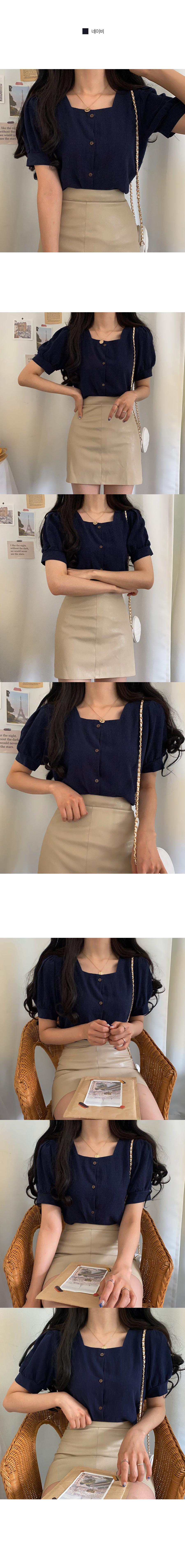 Wood-button linen short-sleeved blouse