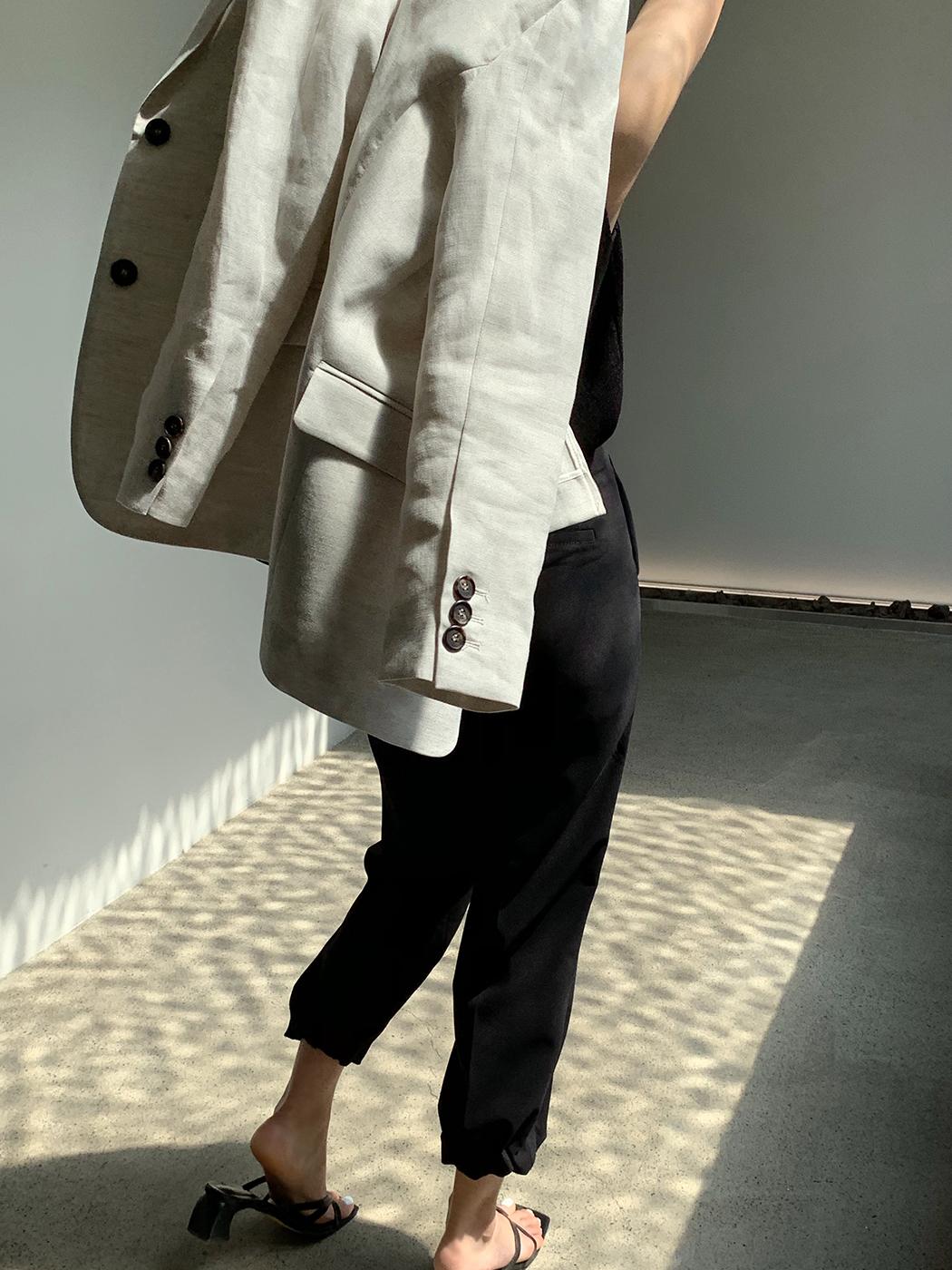 シングルリネン混テーラードジャケット
