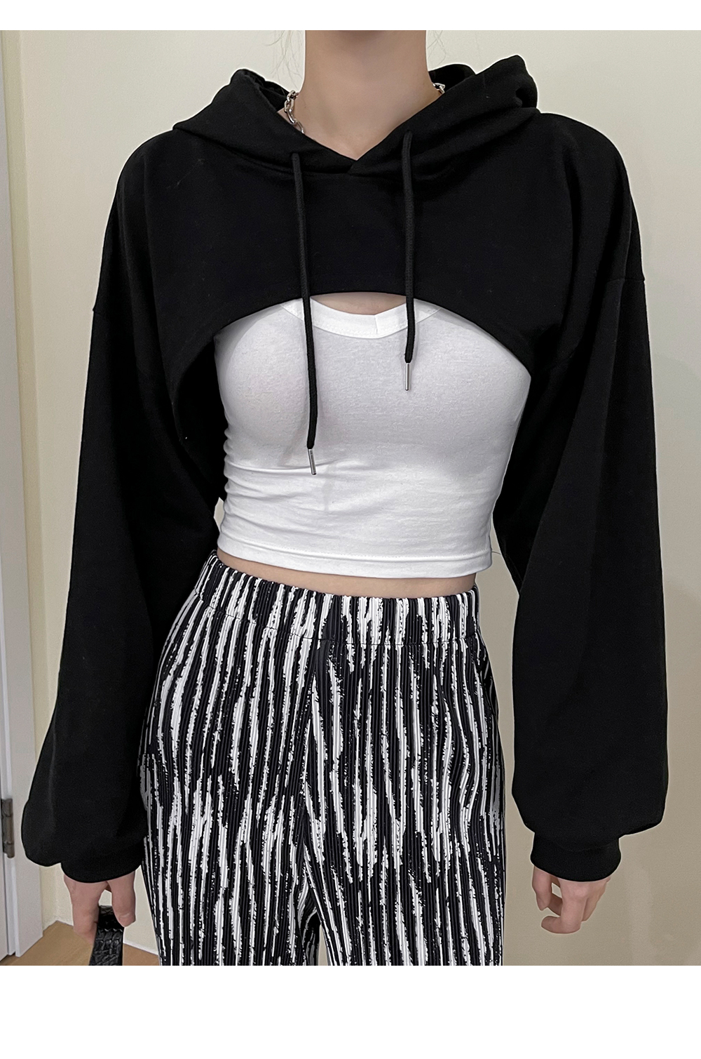 Lined bolero cropped hoodie