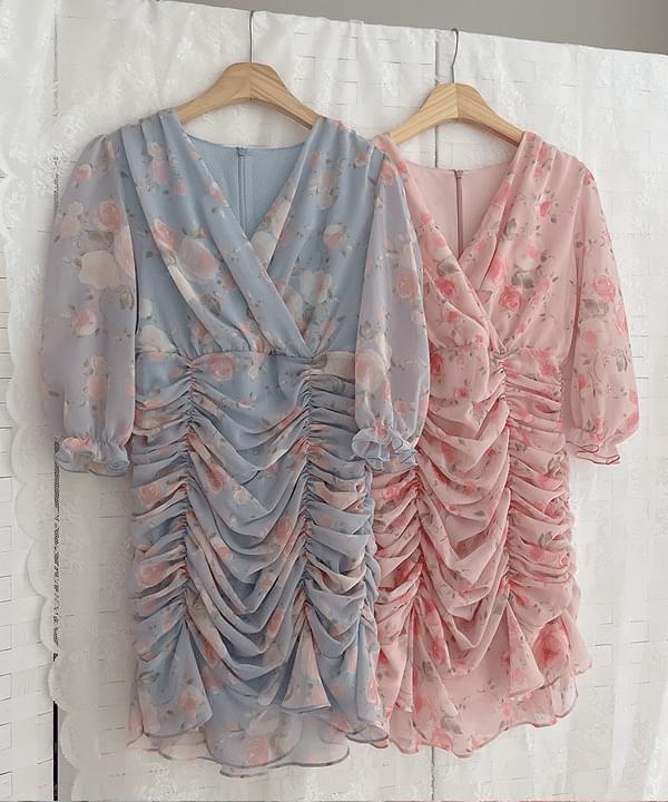 Mood Flower Shirring Dress 2color